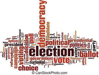 mot, élection, nuage