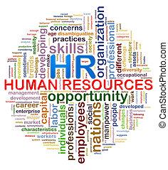 mot, étiquettes, hr, wordcloud, conception, ressources humaines, circulaire