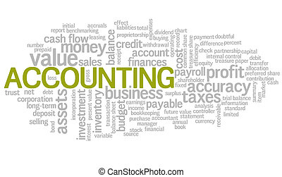 mot, étiquettes, vecteur, comptabilité, bulle, nuage