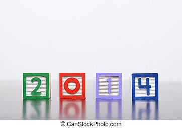 mot, 2014, alphabet, formé, nouveau, bois, année, blocs