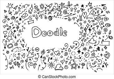 mot, ainsi, triangles, dessiné, géométrique, petit, il, cœurs, fond, peu, vecteur, ensemble, noir, spirales, différent, autour de, divers, ligne, étoiles, arrière-plan., flèches, format, rectangulaire, lignes, doodles, blanc, éléments, griffonnage