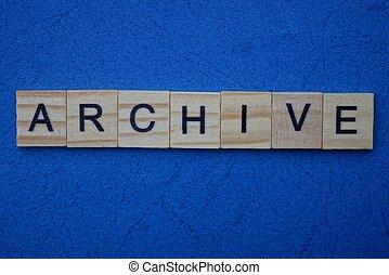 mot, archive, bois, fait, brun, lettres