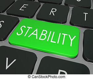 mot, assurer, sûr, choix, stabilité, clef informatique, clavier