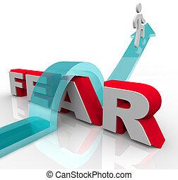 mot, battement, -, sur, craintes, sauter, conquérir, peur, ton