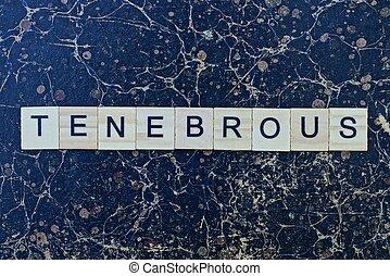 mot, bois, petit, tenebrous, texte, lettres, gris