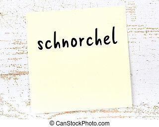 mot, bois, schnorchel, collant, manuscrit, note jaune, mur