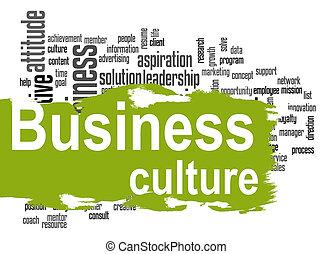 mot, business, culture, vert, bannière, nuage