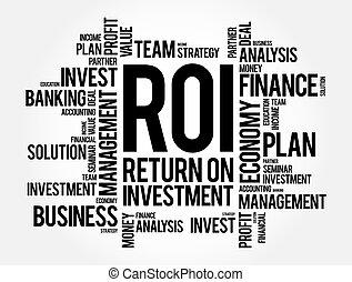 mot, business, investissement, roi, nuage, concept, retour, -, fond