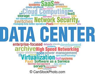 mot, centre, étiquettes, il, technologie, données, nuage