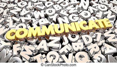 mot, collage, part, communiquer, idées, animation, lettres, 3d