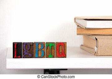 mot, coloré, bois, lgbtq, -, lettres