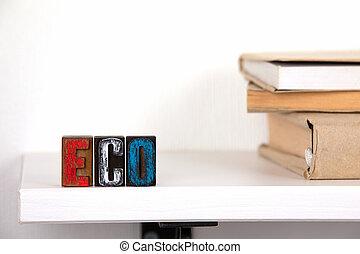 mot, coloré, eco, -, bois, lettres