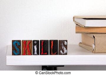 mot, coloré, techniques, -, bois, lettres