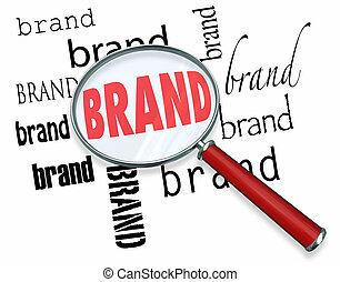 mot, commercialisation, fidélité marque, verre, mots, magnifier