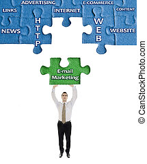 mot, commercialisation, puzzle, e-mail, mains, homme