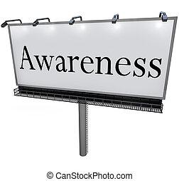 mot, commercialisation, signe, panneau affichage, message, conscience