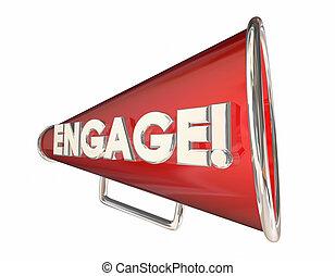mot, communication, engagement, illustration, bullhorn, porte voix, 3d