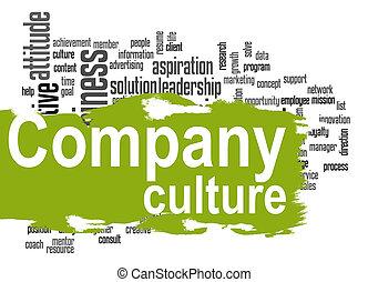 mot, compagnie, culture, vert, bannière, nuage