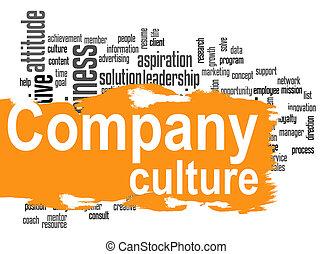 mot, compagnie, jaune, culture, bannière, nuage