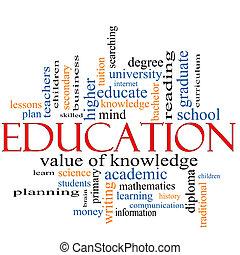 mot, concept, education, nuage