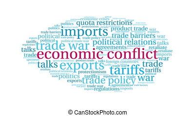 mot, conflit, nuage, économique