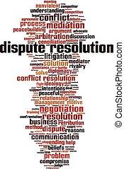 mot, conflit, résolution, nuage