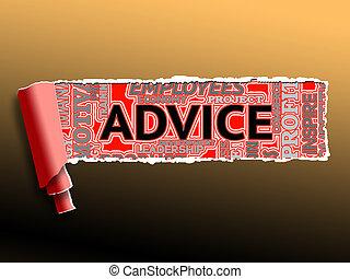 mot, conseil, illustration, assistance, 3d, soutien, spectacles