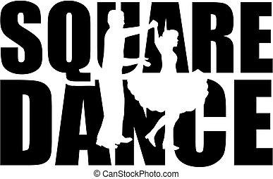 mot, danse, coupure, carrée