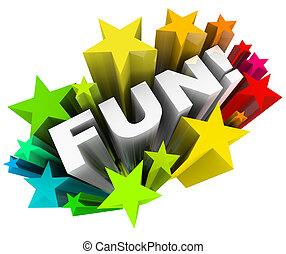 mot, divertissement, starburst, étoiles, amusement, amusement