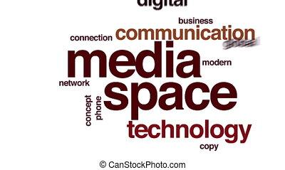 mot, espace, nourriture, média, cloud., animé