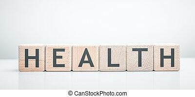 mot, fait, santé, bâtiment, blocks.