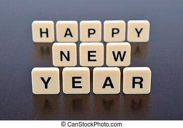 mot, formé, morceaux, lettre, année, nouveau, heureux