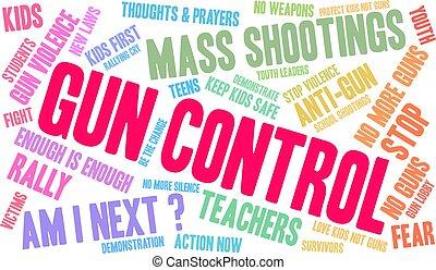 mot, fusil, nuage, contrôle