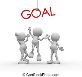 """mot, gens, -, """"goal"""", hommes, personne, rouges, 3d"""