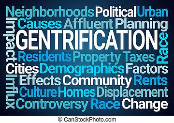 mot, gentrification, nuage