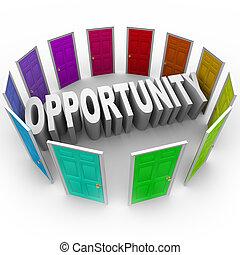 mot, grand, chance, avenir, portes, nouveau, ouvert, occasion