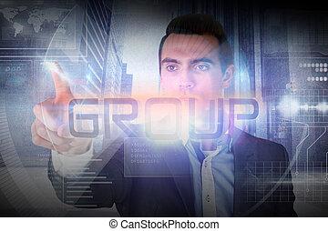 mot, groupe, présentation, homme affaires
