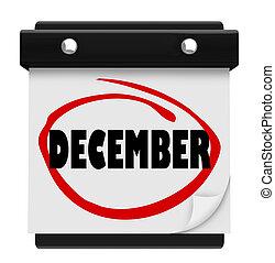 mot, hiver, mur, décembre, mois, calendrier, noël, changement