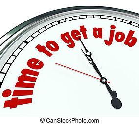 mot, horloge, obtenir, métier, date limite, mots, temps, trouver