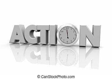 mot, horloge, temps, illustration, acte, action, maintenant, 3d