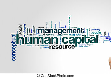 mot, humain, nuage, capital