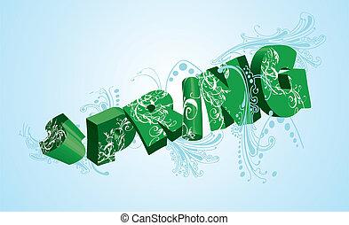 mot, illustration., blue., printemps, vecteur, vert, 3d