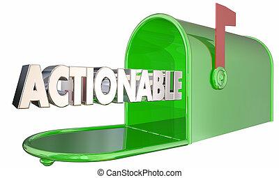 mot, illustration, boîte lettres, actionable, prendre, acte, action, maintenant, 3d