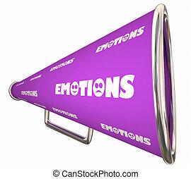 mot, illustration, sentiments, bullhorn, émotions, porte voix, 3d