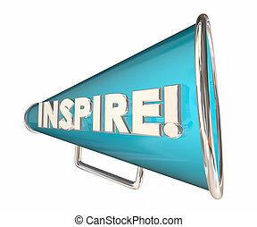 mot, inspirer, motivation, illustration, bullhorn, porte voix, 3d