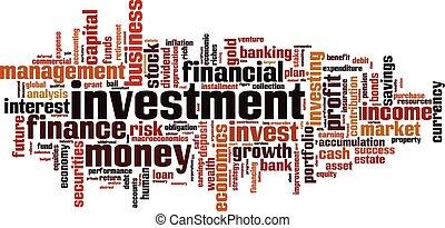 mot, investissement, nuage