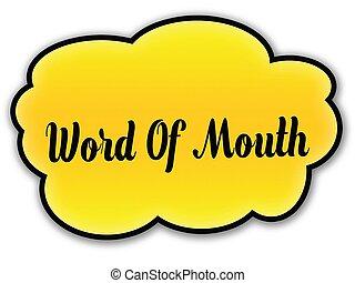 mot, jaune, bouche, fond, nuage blanc, manuscrit
