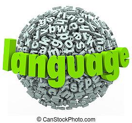 mot, langue, étranger, sphère, lettre, apprendre, parler, parler