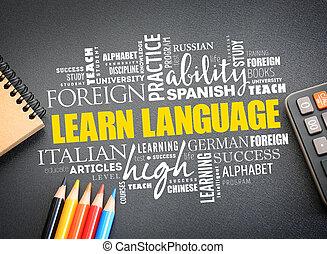 mot, langue, concept, nuage, apprendre, education