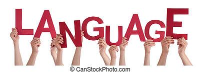 mot, langue, gens, beaucoup, tenant mains, rouges